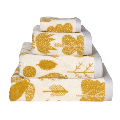 Bird & Tree Towels Mustard: click to enlarge
