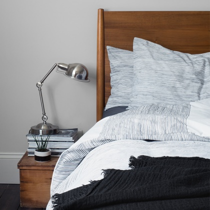 Imivimbo Black & Off-White Striped Bed Linen: click to enlarge