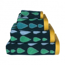 Raindrops Towels Green