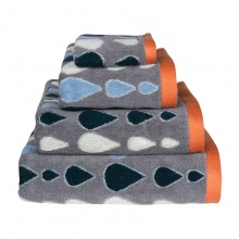 Raindrops Towels Grey